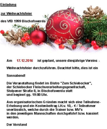 Text Einladung Weihnachtsfeier Verein.Vereins Weihnachtsfeier Am 17 12 2016 Vfb 1999 Bischofswerda